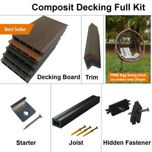 Composite Decking Wooden WPC decking Full Kit including Board Trim Fixings Joist