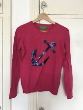 Marie Lund Copenhagen Anchor Sequin Pink Knitted Jumper Sweater Size Small 8 10