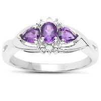 9ct White Gold Amethyst & Diamond Engagement Ring, Ring Size H,I,J,K,L,M,N,O,P,