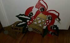 vintage 2006 handcrafted wooden cutout Christmas holiday decoration Jingle Bells