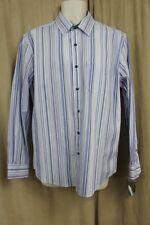 Tasso Elba Island Camisa TALLA M 15-15 ½ Azul Multicolor Algodón de Rayas