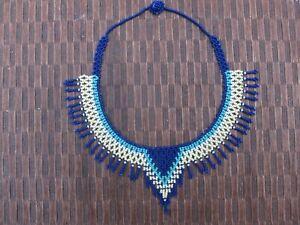 Colombian Glass Bead Necklace choker, handmade, elegant, blue, turquoise, white