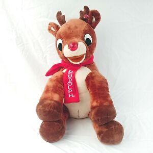 "Huge Rudolph The Red Nosed Reindeer Stuffed Plush Jumbo 32"" Lighted Nose Dan Dee"