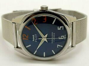 hmt pilot hand winding men's steel blue dial para shock vintage india watch a