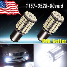 2x 6000K White 1157 80SMD LED Light Bulbs Tail Brake Stop Daytime Running 7528