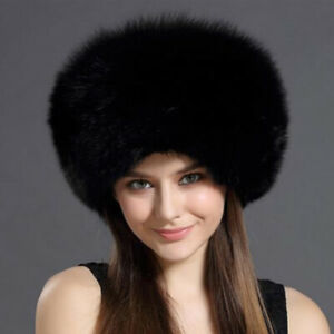 Black Fox Fur Roller Hat with Leather Top, Real Fur Hat