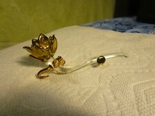 "LOVELY~4.5"" Crystal Glass Flower With Gold Leaf Decor~!!!!!!!"