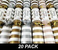 20 x Christmas Crackers Bon Bons 30cm Striped Retro Style with Snap, Toy & Hat