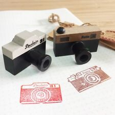 2 x Vintage Camera Wooden Retro Rubber Stamps - Photography Wood Craft Stamping