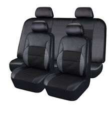9Pcs Full Black PU Leather Auto car Seat Covers Full Synthetic Set Protector Kit