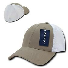 Khaki White Flex Low Crown Cotton Mesh 6 Panel Baseball Golf Fit Fitted Hat Cap