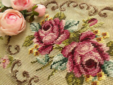 "Vtg 40"" PREWORKED Needlepoint Canvas *Cottage SHABBY PINK Roses* Bench Cover Rug"