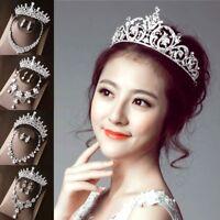 Crystal Bridal Jewelry Sets Silver Fashion Wedding Rhinestone Tiara Necklace