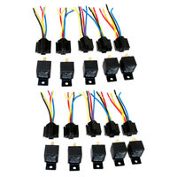 Lot10 New 12 Volt 40 Amp SPDT Automotive Relay with Wires & Harness Socket SS