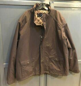Lands' End Men's Winter Coat Quilted Lining Full Zip Coat Sz XXL 50 Tall - Brown