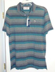 Original Penguin Men's Golf/Casual Striped Polo Shirt MEDIUM NWT $89