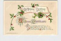 PPC POSTCARD WINSCH MERRY CHRISTMAS SEASON'S GREETINGS HOLLY POEM EMBOSSED