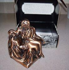 Vintage Batesville Pieta Maple Michelango Religious Statue Figure Bronze Box