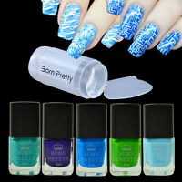 6pcs/set Blue Series Nail Stamping Polish Kit & Clear Stamper Scraper Tools DIY