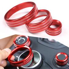 3pcs Red Interior Control Knob Circle Cover Trim Fit For Alfa Romeo Giulia 2017