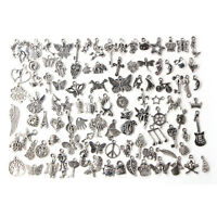 Wholesale 100 pcs Bulk Lot Tibetan Silver Mix Pendants Charms For Bracelet DIY