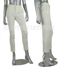 $895 CLASSIC GUCCI CROPPED PANTS WHITE TROUSERS SLIM FIT sz IT 48 US 12