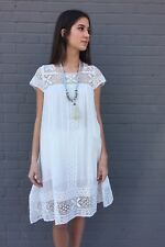 SPELL DESIGNS & Gypsy Collective Sunday Feels Mini Dress White Crochet Boho XS