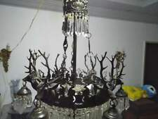 Chandelier Antique Empire Brass Vintage Crystal Lamp 9 light E14