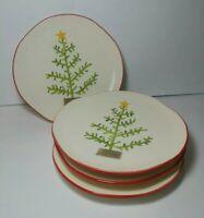 """Set of 4 Sundance Dessert Salad Plates Christmas Tree Hand Painted 9"""" Portugal"""