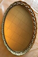 """16.5"""" x 12"""" Oval Gold Tone Vanity Mirror Tray and/or Mirror Wall Hanging Roses"""