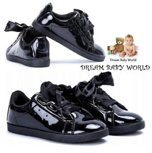 RIBBON LACE Girls SCHOOL shoes trainers sneakers boots 12UK - 2UK GIRLS BLACK