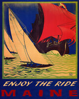 POSTER SAILBOAT ENJOY THE RIDE MAINE SAIL BOAT SAILING VINTAGE REPRO FREE S/H