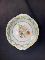 """Vintage PORCELAIN BOWL LIMOGES France summer flowers Pattern 8"""" Square Gold Trim"""
