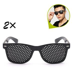 2x Sehkorrektur Lochbrille Sehkorrektur Pinhole Glasses Nadelöhr Rasterbrille