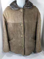 BERMANS Women's Vintage Sheepskin Suede Fur Jacket Coat Western (Large) Size 12