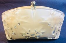 1950s CLEAR RHINESTONE ENCRUSTED CLUTCH WITH ORIGINAL LINING INTACT
