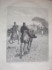 Parted la dame et sa jupe Accident dans la chasse Champ 1890 OLD PRINT