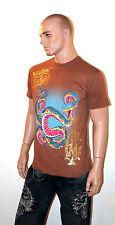 CHRISTIAN AUDIGIER Ed Hardy T-Shirt Shirt Men's SNAKE Brown Tee LARGE L Gold