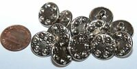 """Lot of 12 Silver Tone Metal Buttons Hollow 2-piece Construction 5/8"""" 15mm # 5729"""