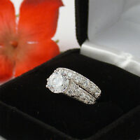 3.5 CT STERLING SILVER WEDDING ENGAGEMENT RING SET SZ 5,6,7,8,9,10 FREE RING BOX