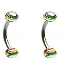 """2 pc - 16 Gauge 3/8"""" Jamaican Curved Eyebrow Rings Stainless Steel Barbell D5"""