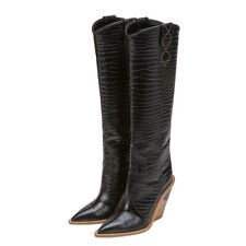 Sexy Womens Knee-high Boots Shoes Pointy Toe Chunky Pull on Occident Custom-made