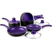 8PC NON STICK INDUCTION STONE PAN SET SAUCEPAN FRYING PAN POT COOKWARE PURPLE