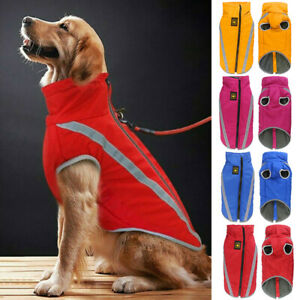Pet Dog Reflective Jackets Labrador Waterproof Clothes Coat Warm Padded Fleece