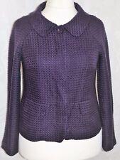 ANN TAYLOR Size 12 Lovely Purple Wool Effect Jacket False Pockets Fully Lined