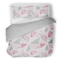 METRO GEOMETRIC TRIANGLE SINGLE DUVET COVER SET MODERN BEDDING GREY / PINK