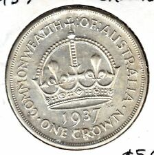 AUSTRALIAN 1937 SILVER CROWN FIVE SHILLINGS GREAT GIFT