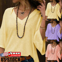 Women's 3/4 Sleeve Loose T-Shirt Ladies Summer V-Neck Casual Blouse Tops Shirt