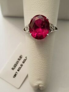 PRETTY 4.00 CT RUSSIAN RUBY & DIAMOND 10KT SOLID WHITE GOLD RING SIZE 7