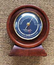 Vintage AIRGUIDE Table Barometer 1950-60's Era Nautical Rustic Wood Brass